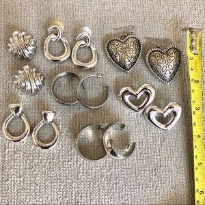 Vintage 1990s Silver Tone Earrings (Napier, Monet)